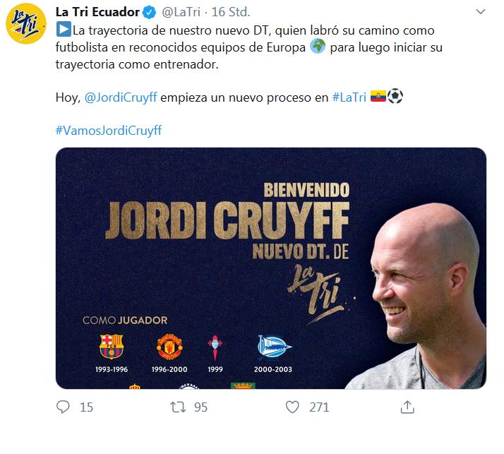 Jordi Cruff ist Trainer Ecuadors