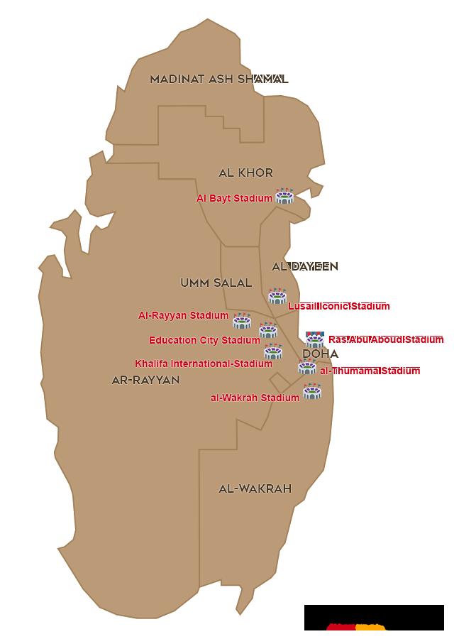 Verteilung der WM 2022 Stadien in Katar